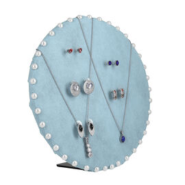 Table & Wall Jewellery Holder with Beades Border (Colour: Blue; Dimension: 25.5 x 25.5 x 7 cm.; Weig