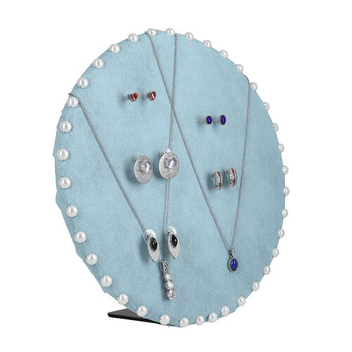 Table & Wall Jewellery Holder with Beaded Border (Colour: Blue; Dimension: 25.5 x 25.5 x 7 cm.; Weig
