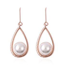 White Shell Pearl and Simulated Diamond Teardrop Earrings with Hook in Rose Gold Plated Silver