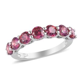 J Francis Made with Red SWAROVSKI ZIRCONIA Half Eternity Ring in Platinum Plated Sterling Silver