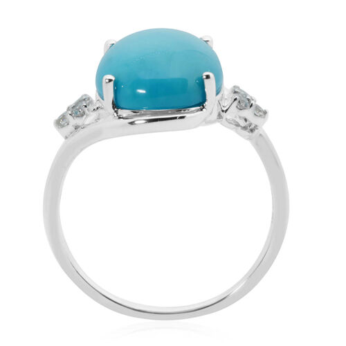 ILIANA 18K White Gold AAA Arizona Sleeping Beauty Turquoise (Ovl 14x10mm), Diamond Ring 4.70 Ct.