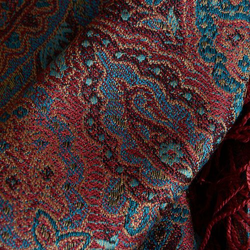 SILK MARK - 100% Superfine Silk Blue, Burgundy and Multi Colour Jacquard Jamawar Scarf with Fringes at the Bottom (Size 180x70 Cm) (Weight 125 - 140 Gms)