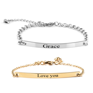"Personalised Engravable Bar Bracelet in Stainless Steel, Size 8.5"""
