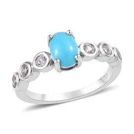 Arizona Sleeping Beauty Turquoise (Ovl), Natural Cambodian Zircon Ring in Platinum Overlay Sterling