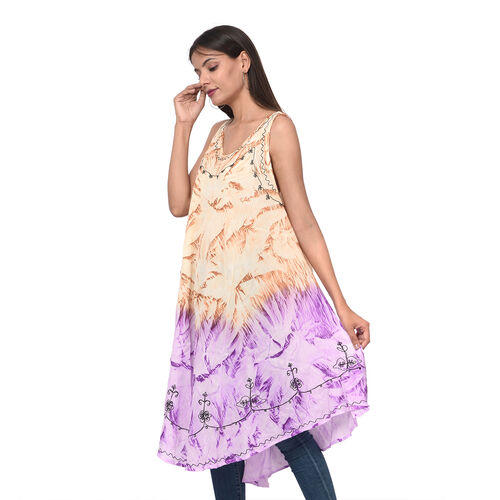 Embroidered Tie-Dye Round Neck Umbrella Dress (One Size; L-121cm x W-111cm) - Mustard and Purple