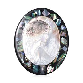 Cameo and Abalone Shell Brooch  in Silver Tone