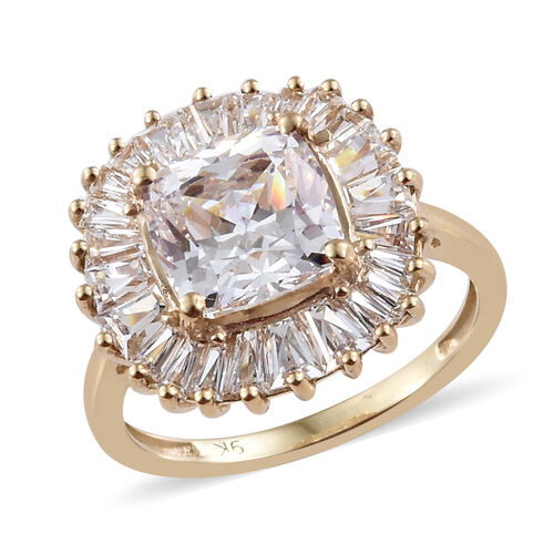J Francis - 9K Yellow Gold (Cush 8x8 mm) Ring Made With SWAROVSKI ZIRCONIA