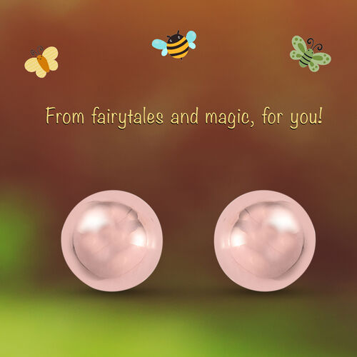 Ball Earrings for Children in Rose Gold Plated Silver