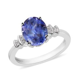 RHAPSODY 950 Platinum AAAA Peacock Tanzanite and Diamond (VS/E-F) Ring 2.65 Ct, Platinum wt 5.35 Gms