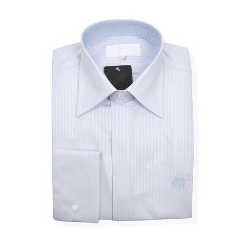 William Hunt - Saville Row Forward Point Collar Light Blue and White Shirt (Size 15) - Sky over Indi