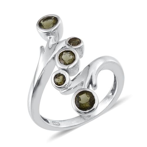 Bohemian Moldavite (Rnd) 5 Stone Crossover Ring in Platinum Overlay Sterling Silver 0.650 Ct.