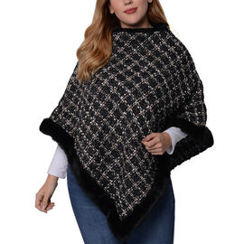 Navy Checkered Pattern Tweed Poncho with Faux Fur Trim (Size 70x80cm)