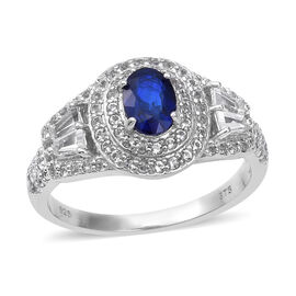 3.26 Ct Blue Spinel and White Topaz Halo Ring in Sterling Silver
