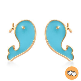 Whale Fish Earrings for Kids in Gold Plated Silver