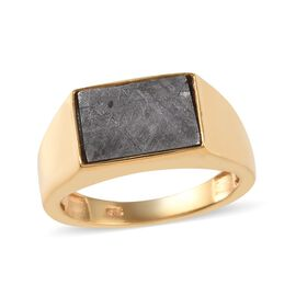 Tucson Special - Meteorite (Bgt 12x8mm) Solitaire Ring in 14K Gold Overlay Sterling Silver 5.69 Gms