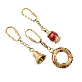 Set of 3 - Lifebuoy, Ship Bell & Lamp Key Chains in Gold Plated