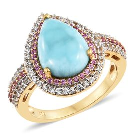 Larimar (Pear 4.50 Ct), Pink Sapphire and Natural Cambodian Zircon Ring in 14K Gold Overlay Sterling Silver 5.500 Ct. Number of Gemstone 107