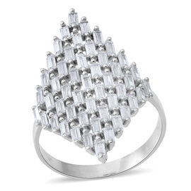 ELANZA Simulated White Diamond (Bgt) Cluster Ring in Rhodium Plated Sterling Silver