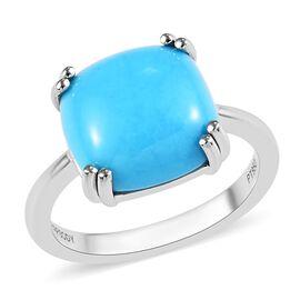 RHAPSODY 950 Platinum AAAA Arizona Sleeping Beauty Turquoise (Cush) Solitaire Ring 5.00 Ct. Platinum