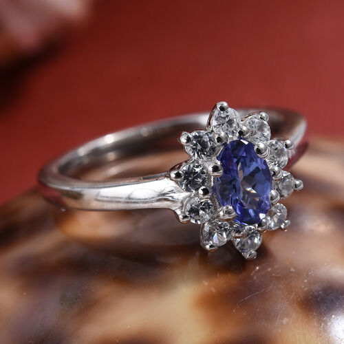 Tucson Special- One Time Deal Tanzanite (Ovl), Natural Cambodian Zircon Ring in Platinum Overlay Sterling Silver 1.000 Ct.