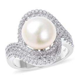 White South Sea Pearl (Rnd), Natural White Cambodian Zircon Swirl Ring in Rhodium Overlay Sterling S