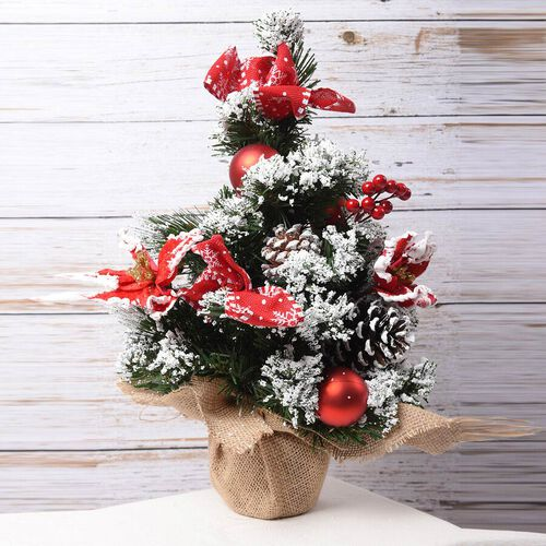 Table Christmas Tree with Snow Flocking, Baubles, Pine Cone and Bow (Size 40cm) - Red, White and Green