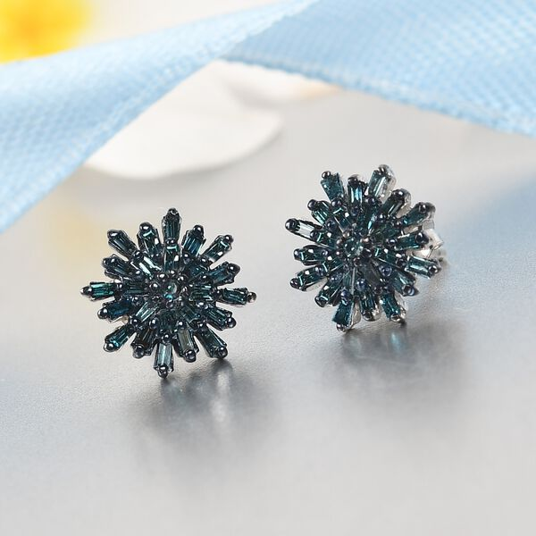 MP Blue Diamond (Bgt) Snow Flake Earrings (with Push Back) in Platinum Sterling Silver 0.33 Ct.