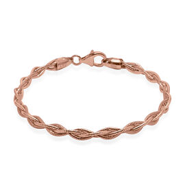Omega Braided Bangle in Rose Gold Plated Silver 5.60 Grams 7.5 Inch