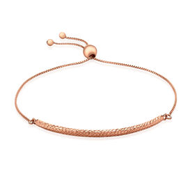 JCK Vegas Collection Diamond Cut Box Chain Adjustable Bracelet in 9K Rose Gold 2 grams Size 6.5 to 8
