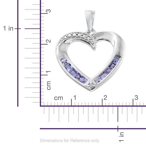 Tanzanite, Diamond 0.51 Ct Silver Heart Pendant in Platinum Overlay