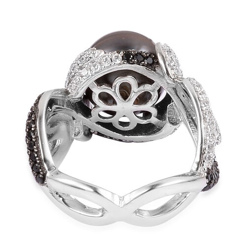 Tahitian Pearl, Natural White Cambodian Zircon and Boi Ploi Black Spinel Ring in Black Rhodium Plated Sterling Silver, Silver wt 5.74 Gms.