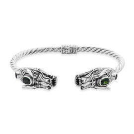 Royal Bali Collection - Russian Diopside (Ovl 7x5mm) Dragon Head Bangle (Size 7.5) in Sterling Silve