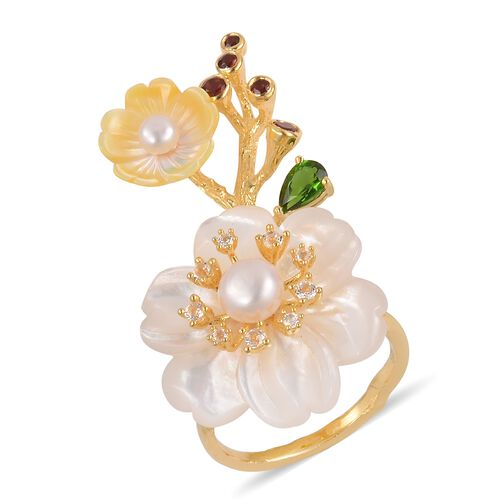 Jardin Collection - White and Yellow Mother of Pearl, Russian Diopside and Multi Gemstone Flower Ring in Yellow Gold Overlay Sterling Silver