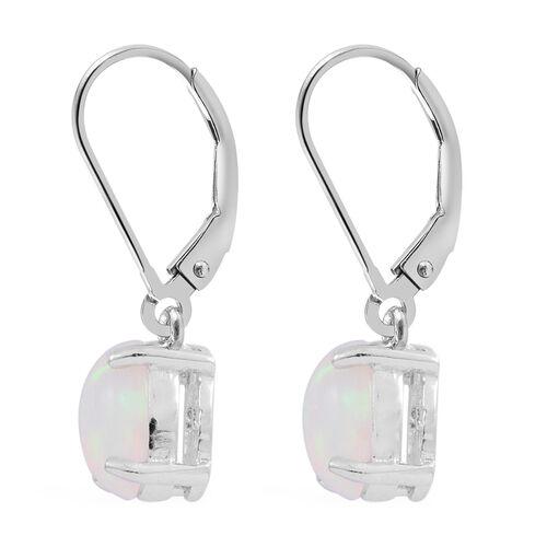 Ethiopian Welo Opal (Ovl) Lever Back Earrings in Rhodium Plated Sterling Silver 1.750 Ct.