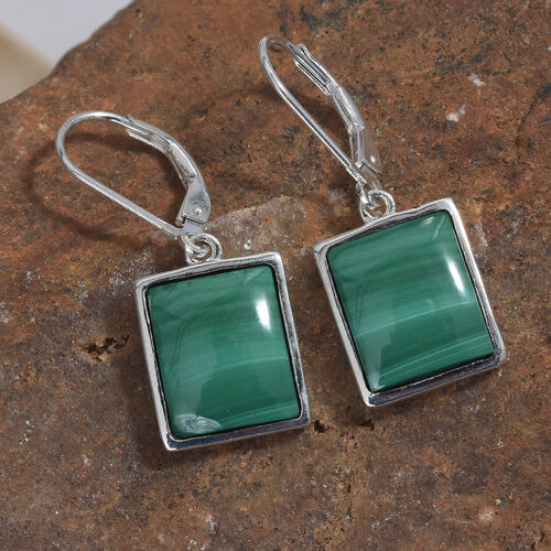 Malachite (Bgt) Lever Back Earrings in Sterling Silver  15.000 Ct.