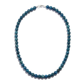 Extremely Rare - Sakaraha Blue Apatite (8 mm) Ball Beads Necklace (Size 18) in Rhodium Plated Sterling Silver 250.000 Ct.