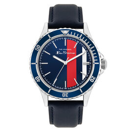 BEN SHERMAN Multi Colour Dial Watch with Mulberry Leather Strap