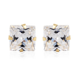 9K Yellow Gold Simulated Diamond (Princess) Stud Earrings (with Push Back)