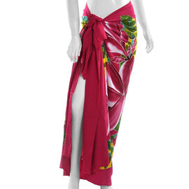 Red Colour Floral Pattern Hand Painted Sarong
