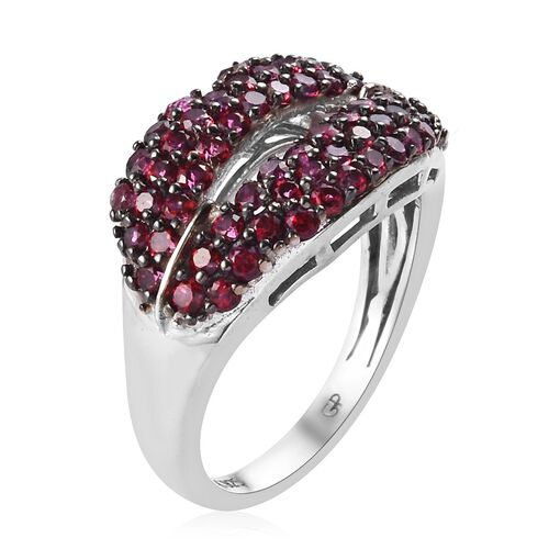 GP Signity Blazing Red Topaz and Blue Sapphire Lips Cluster Ring in Platinum Overlay Sterling Silver 1.50 Ct.