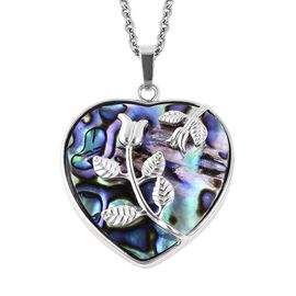 Abalone Shell Flower Vine Heart Pendant with Chain (Size 24) in Stainless Steel