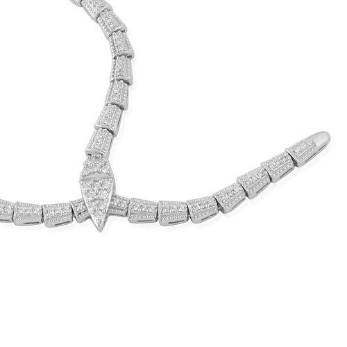 J Francis - Platinum Overlay Sterling Silver (Rnd) SERPENTINE Necklace (Size 20) Made with SWAROVSKI ZIRCONIA, Silver wt 30 Gms, Number of Swarovski 292