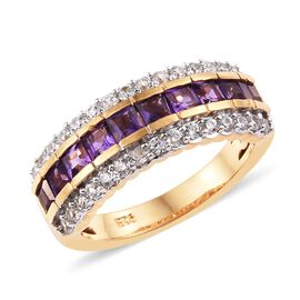 African Amethyst (0.90 Ct),Cambodian Zircon 14K Gold Overlay Sterling Silver Ring  1.500  Ct.