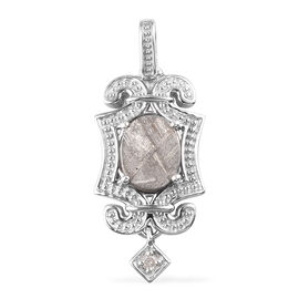 Meteorite and Diamond Pendant  in Platinum Overlay Sterling Silver 4.52 Ct.