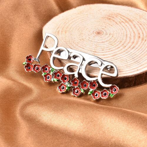 TJC Poppy Design - Black Austrian Crystal Enamelled Poppy Peace Brooch in Silver Tone