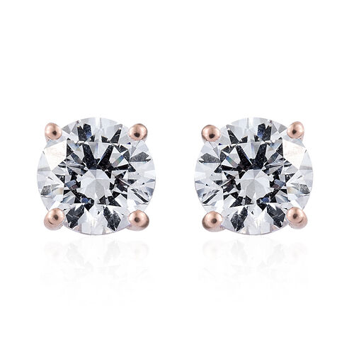 J Francis Rose Gold Overlay Sterling Silver (Rnd 7.5mm) Stud Earrings (with Push Back) Made with SWAROVSKI ZIRCONIA