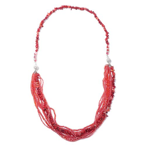 Coral, Multi Colour Beads and White Austrian Crystal Beads Necklace