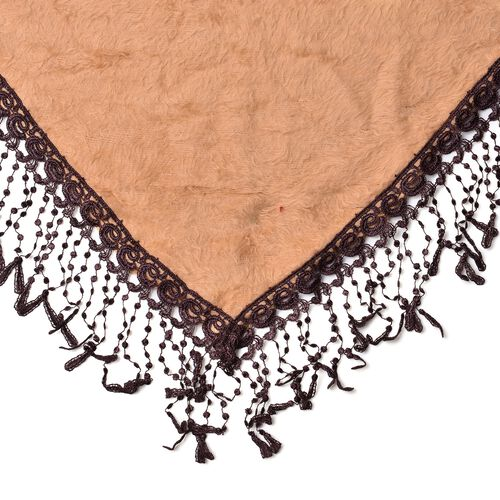 Designer Inspired- Camel Colour Gypsy Style Triangle Scarf with Tassels (Size 146x68 Cm)