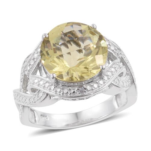 Checkerboard Cut Natural Green Gold Quartz (Rnd), Diamond Ring in Platinum Overlay Sterling Silver 5