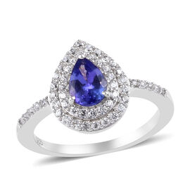 Premium Tanzanite and Natural Cambodian Zircon Ring in Platinum Overlay Sterling Silver 1.11 Ct.